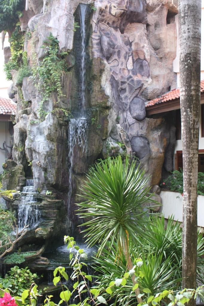 Inside the lobby at the Grand Mirage: a waterfall.