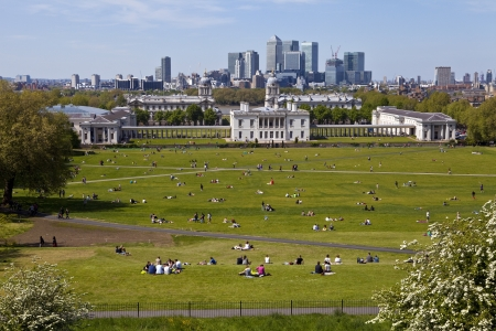 View from the greenwich observatory taking in sights such as docklands and the royal naval college in london.